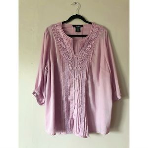 Blush Blouse w/ Lace Detail